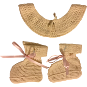 Cream Collar and Booties for Composition and Bisque Dolls 1930