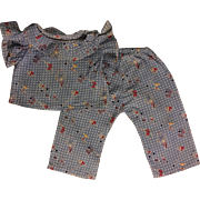 Two Piece Folk Print Top and Pants for Big Composition Dolls 1930s
