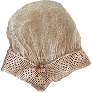 Antique Baby Bonnet French d'esprit Tulle and Crochet with Silk Rosettes