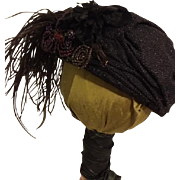 Black Draped Turbin Hat For Bisque Dolls