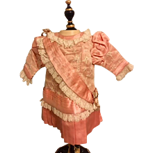 Peach Slipper Satin Dropped Waist Doll Dress for Bisque Dolls