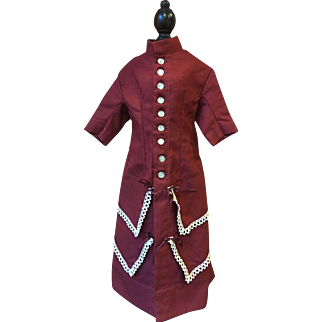 Burgundy Dress for Bisque Dolls