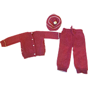Three Piece Knit Effanbee American Child Outfit 1930s