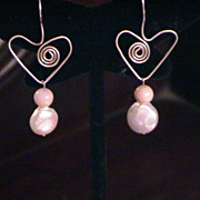 Artisan Fresh-water Coin Pearl, Sterling Silver, and Pink Opal Earring