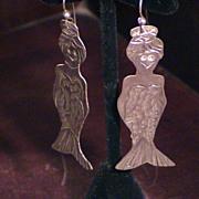 One of a Kind Artisan Sterling Silver Mermaid Earrings