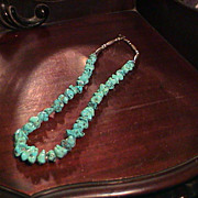 Turquoise nugget and Silver Necklace