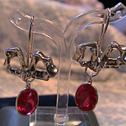 "Lavish Artisan Sterling Silver Earrings - Bows with Interchangeable ""Gems"""