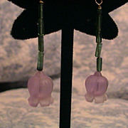 Artisan Earrings;  Carved Amethyst, tourmaline 18K