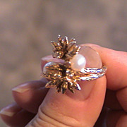 1950's to 1960's Pearl and Diamond Ring 14K