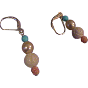 Beautiful Sleeping Beauty Turquoise, coral and Pearl Earrings