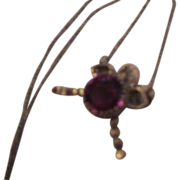 Artisan Bow Necklace with Purple/pink Stone in Sterling Silver