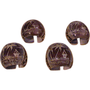 Vintage Carved Shell Napkin Holders - Phillipines