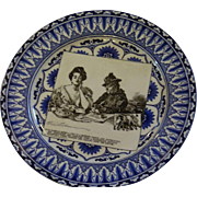 Hard to Find Antique Royal Doulton Plate with Gibson Girl Illustration