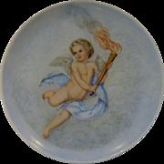 """Very Wonderfully hand painted Vintage Cupid Plate, 10 1/4"""" across"""