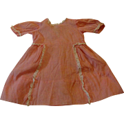 Lovely Antique dress Pink with Tiny Dots and Lace Trim for Large Doll