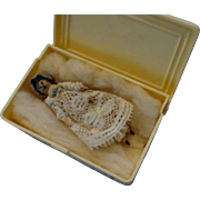 Very Tiny Wooden Doll in Celluloid Box