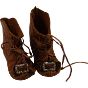 Lovely Soft Brown Antique Doll Boots