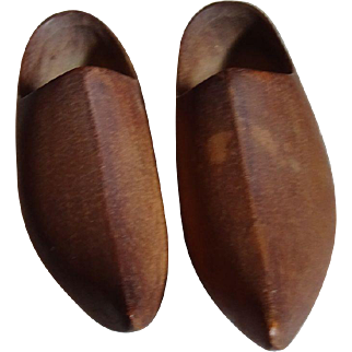 Nice Pair of Larger Wooden Doll Shoes