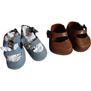 Two pairs of Mid Century Small Doll Shoes