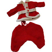 Cute Vintage Hand Knit Santa Suit