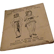 Wonderful Authentic Antique Lady Doll Dress Pattern