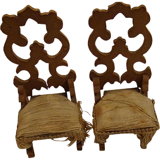 Pair of Antique Doll House Chairs