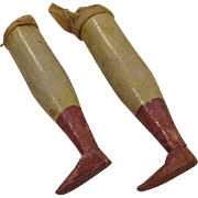 Antique Wooden Legs for Papier Mache or Wooden Head Shoulder Plate