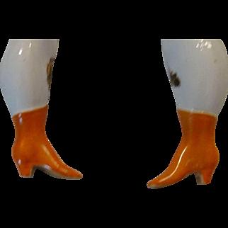 Rare Antique Orange Heeled Boot bottom Leg