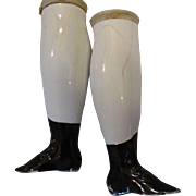 Antique China Head legs with Black flat bottomed Boots