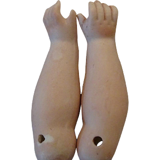 Pair of antique Bisque Arms for Leather bodied Doll