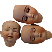 3 German Doll Heads