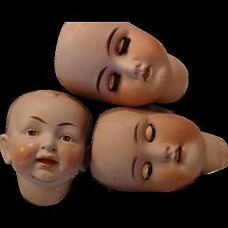 3 German Doll Heads