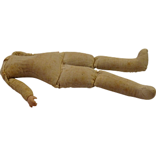 Antique Cloth Doll Body with Celluloid Hands Circa 1910