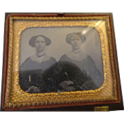Ambrotype of Twin Sisters in Gutta Percha for your dolls Display