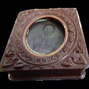 3 Antique Metal Tin-types in Gutta Percha Union Case