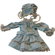 Vintage Blue Silky Dress and Hat with Ruching for French or German Antique Dolls