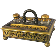 19th Century BOULLE Inkstand with Original Bottles