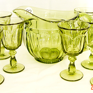 Heisey 'Colonial' Pitcher in Rare Green Color with Matching Glasses