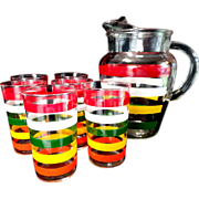 Anchor-Hocking Glass Fiesta Tumblers and Lemonade Pitcher