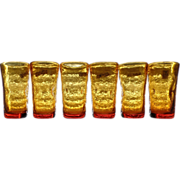 Pilgrim Amber Crackle Glass Tumblers