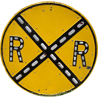 Large Embossed Railroad Crossing Sign