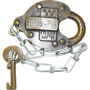Baltimore & Ohio Railroad Brass Heart Shaped Lock & Key