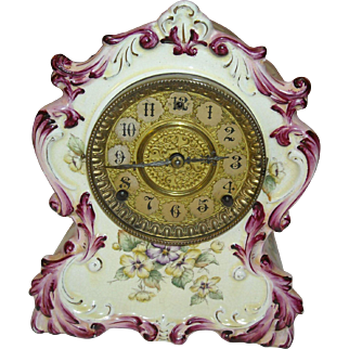 Beautiful Porcelain Pansy Mantel Clock