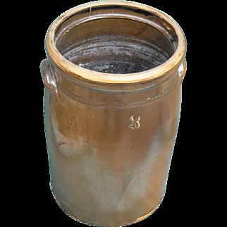 Beautiful Albany Slip 3 Gallon Churn Ca. 1880-1890