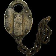 Rare Cleveland, Akron & Columbus Railroad Brass Heart Shaped Switch Lock