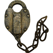 Rare Cleveland, Akron & Columbus Railroad Brass Heart Shaped Switch Lock