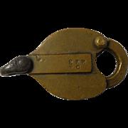 Erie Railroad Brass Heart Shaped Car Lock by Sherburne