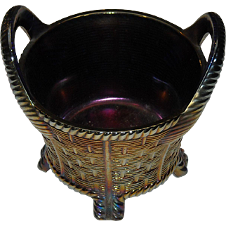 Northwood Carnival Glass Basket in Amethyst