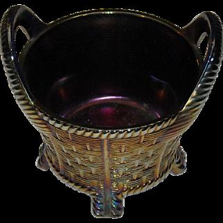 Northwood Carnival Glass Basket in Amethyst
