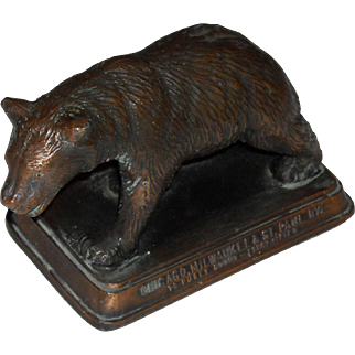 CM&STPRy Bronze Grizzly Bear Advertising Piece